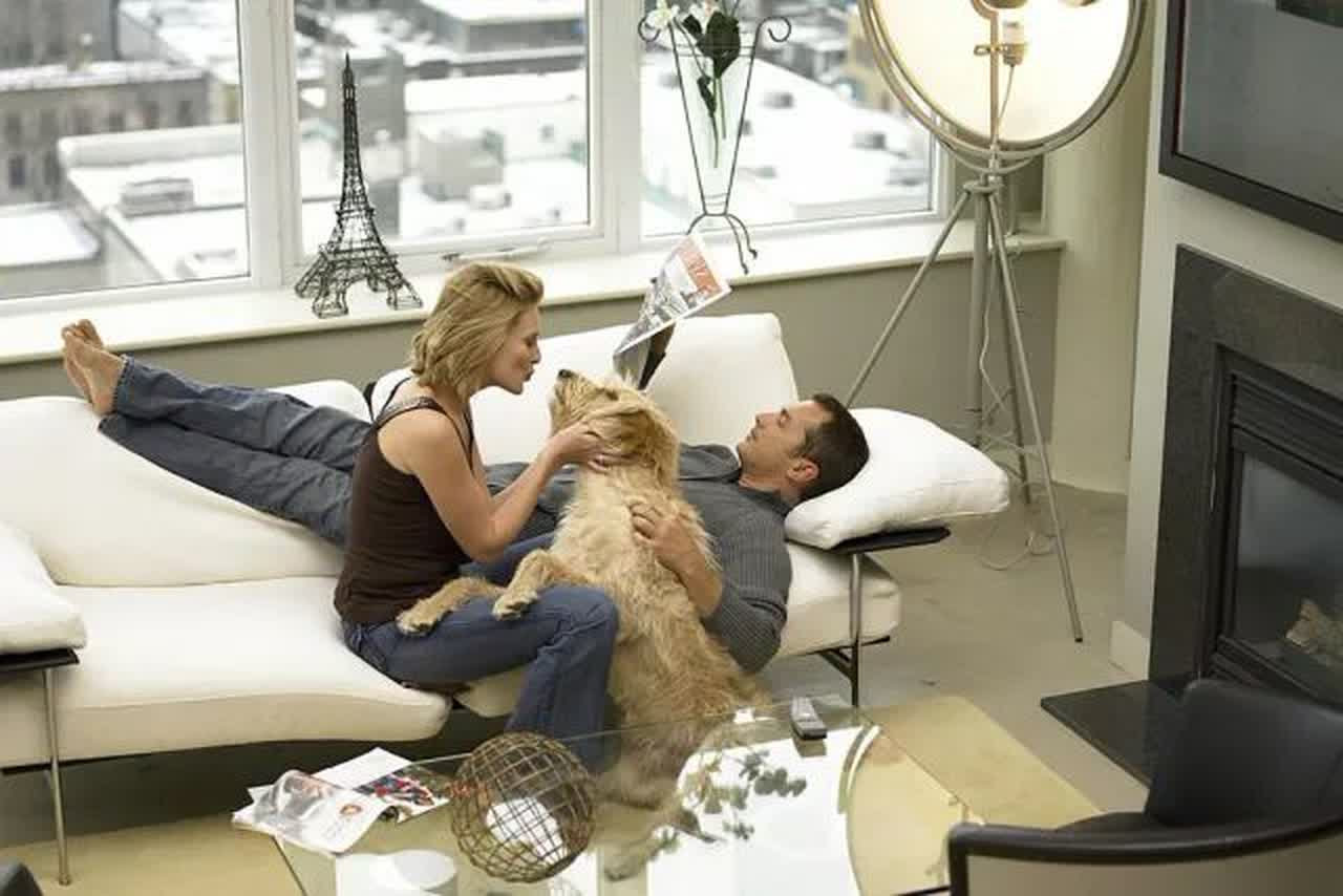 Mature couple with dog relaxing on sofa, elevated view