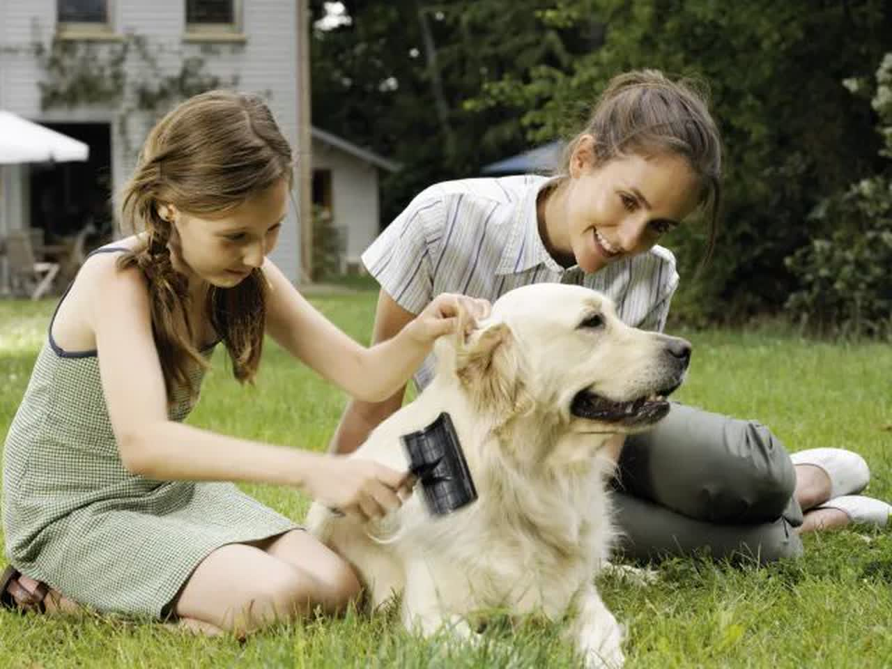 Mother and daughter brushing dog in garden, smiling